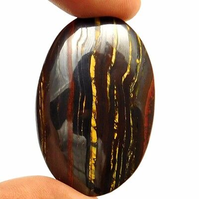 92.90 cts Natural Untreated Designer Iron Tiger Gemstone Oval Loose Cabochon