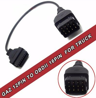 GAZ 12 to 16 pin OBD2 OBDII Male to Female Diesel Truck Diagnostic Cable adapter