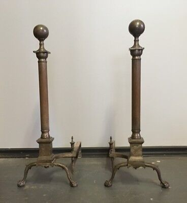 Late Victorian 1890s Federal Revival Style Silvered Steel Andirons NeoClassical