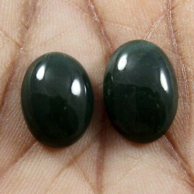 14.90ct Natural Bloodstone Cabochon Oval Gemstone 2 Pcs Wholesale Lot 12x16 mm