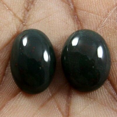 16.10ct Natural Bloodstone Cabochon Oval Gemstone 2 Pcs Wholesale Lot 12x16 mm