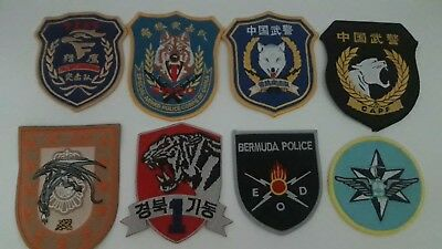 Lot Of 8 Police Patches (China, Korea, Israel, Bermuda, Spain)