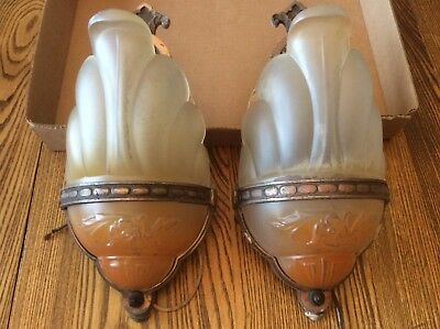 Art Deco Antique Vintage Painted Glass Slip Shade Wall Sconce Light Fixture Pair