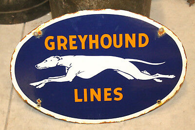 Greyhound Bus Lines Porcelain Enamel Vintage Style Dealer Advertising Sign