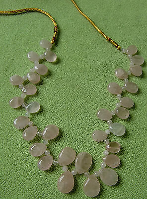 Very Pretty Gorgeous Semi Precious Pink Color Stone Necklace Jewelry From India