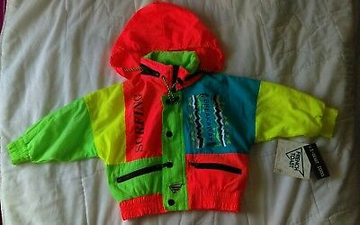 toddler girls size: 3T multi-colored graphic windbreaker jacket/hood. LS