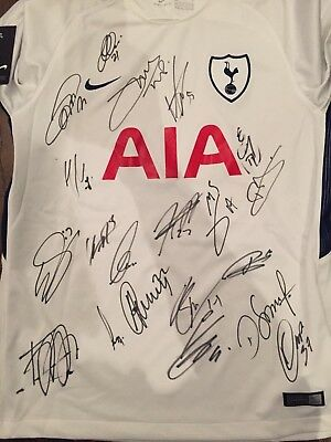 Tottenham Hotspur Fc Spurs 2017/2018 Squad Signed Shirt 20 Signatures New Player