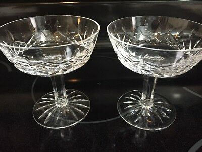 """2 Waterford Lismore 4-1/8"""" Champagne/Tall Sherbet Glasses Excellent Condition"""