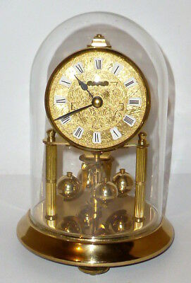 Antique Kern Mechanical Year Clock Glass Dome Watch Mantel Table Pendule