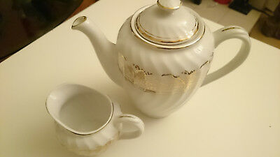 Royal Wessex White Ironstone Made by Swinnertons Teapot and Jug