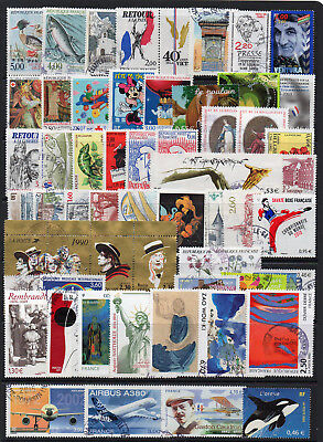 France 55 Different Modern VF Used Stamps, Painting, Aviation Etc.