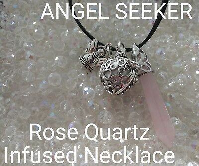 C/213 ANGEL SEEKER Rose Quartz Infused Necklace Doreen Virtue Certified Pendulum