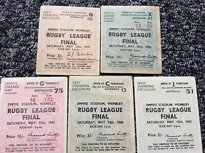 5 x  Challenge Cup Final Match Tickets 1957/58/60/61/62please see photo
