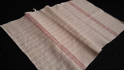 antique large handwoven Towel / Runner beige stripe pattern and red borders