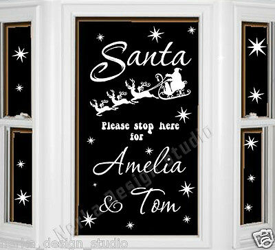SANTA STOP HERE PERSONALISED Sticker WALL STICKER  XMAS WINDOW STICKER  SS51