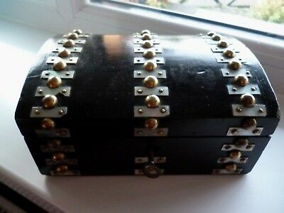 Victorian Domed Top Box with Mother of Pearl & Brass Decoration