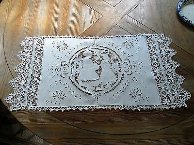 Antique Figural Richleau Work With Embroidery Table Runner/Bobbin Lace Border