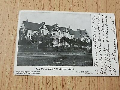 Sea view hotel,Seabrook,Kent 1907 Postcard