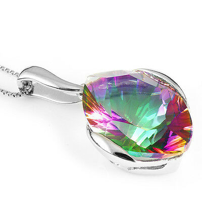 Stunning Natural Mystic Topaz 11 ct 925 Sterling Silver Gemstone Pendant + chain