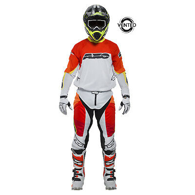 AXO-Motion Prisma-Motocross Riding Gear BMX Pants and Jersey combo wht/red/yel