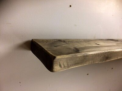 Modern Wooden Rustic Solid Floating Shelf Mantel Thick Beam Vintage rough sawn