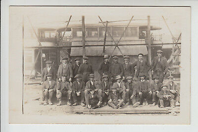 Lincolnshire: Grimsby? Group of Workers/Labourers,Trams, - c.1900s RP PC (P367)