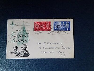 Gb 1951 Festival Of Britain. Fdc. F.o.b. Cancel.inverted Cancel On Back
