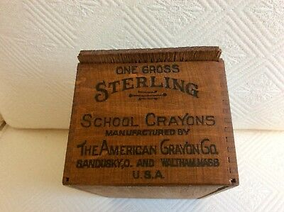 vintage early 1900's dovetailed school crayon box with sliding wooden lid