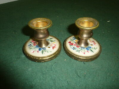 Pair of Small 55 mm Brass Embroidered Flowers Candlesticks 164g