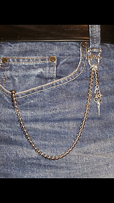 Single Albert Pocket Watch Chain and Bird Skull Fob for jeans/trousers