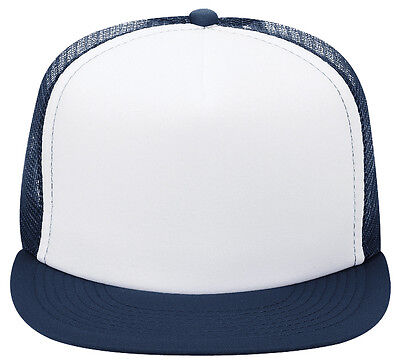 OTTO Polyester Foam Front Flat Visor Five Panel High Crown Mesh Back  Trucker Hat 38213e72f072