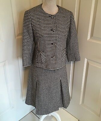 Laura Ashley Black And White Two Piece Suit Skirt And Jacket Size 10