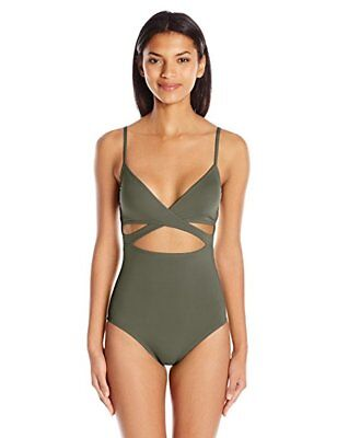 72e5057f15f22 Vince Camuto Women s Fiji Solids Wrap One Piece Swimsuit with Removable SZ  10