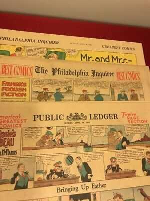 Lot Of 3 Vintage 1933 Newspaper Comics Section Gasoline Alley Annie Mickey Mouse