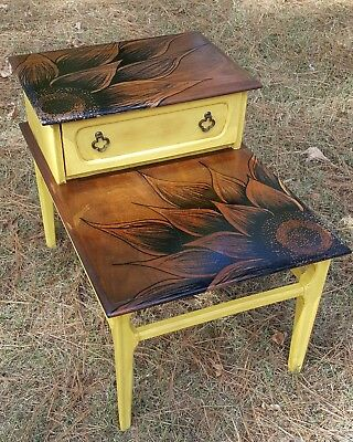 Antique Mersman End Table Nightstand with Hand painted Sunflower