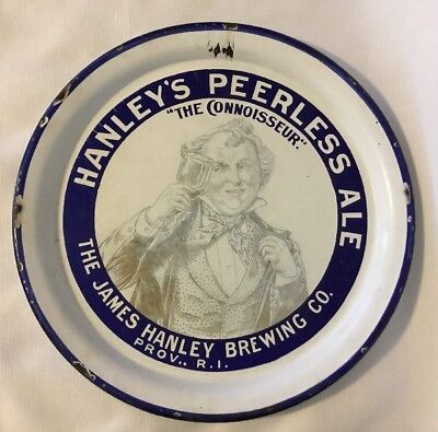 Antique Pre Prohibition Porcelain Beer Tray-Hanley's Peerless Ale, Providence RI