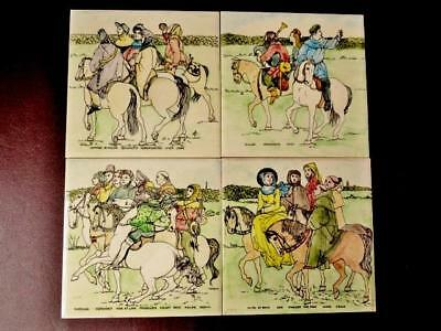 Vintage Hand Coloured Wall Tiles - Chaucers Tales of Cantebury - Home Decor.