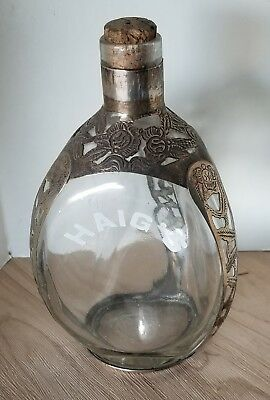 Haig's Dimple Glass & Silver Pinch Whiskey Bottle