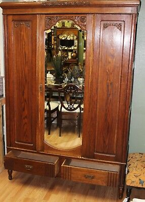 Antique French Carved Wood 20 Piece Knockdown Wardrobe Armoire w/ Mirror