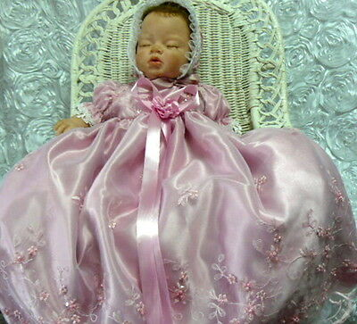 Victorian Dusty Rose Gown Dress Reborn Art Doll Baby Beaded Tulle Size 0-3Mth