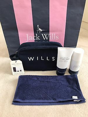Jack Wills Mens Gents Travel Gym Wash Bag With Towel, Body Wash & Spray - BNWT