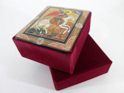 """Orthodox icon Lacquer box """"Saint George the Victorious"""" Hand Painted  #275-3"""