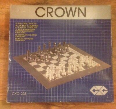 Crown Chess Computer 1980's Boxed With Instructions Fully Working VGC!