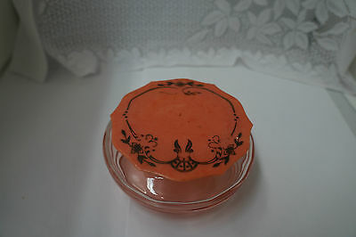 Antique Pink Depression Glass Celluloid Lid Dresser Jar