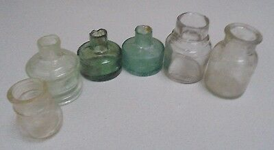 6 vintage Glass inkwells -Ink well bottles ink pot miniature Bottles  6 in Total