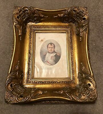 Antique Gilt Framed Illustration Of Napoleon Frame Baroque