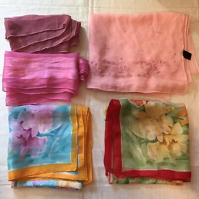 5 Scarves Silk Pink Sheer Beaded Oblong Square Flowers Rose Scarf Vtg Lot