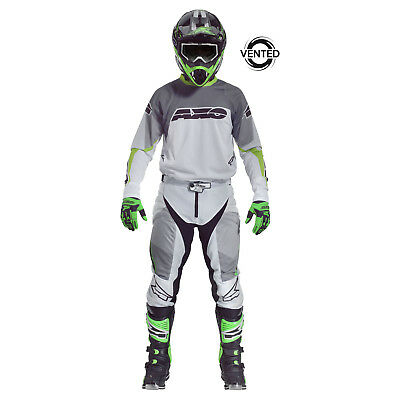 AXO-Motion Prisma-Motocross Riding Gear BMX Pants and Jersey combo wht/gry/grn