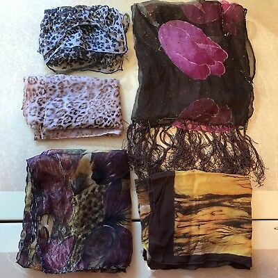 4 Scarves Oblong Animal Leopard Print Tulip Floral Brown Purple Scarf Vtg Lot