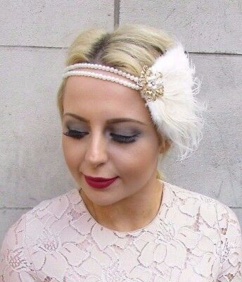 Gold Ivory Cream Pearl Feather Headpiece 1920s Headband Flapper 1930s Vtg 4279